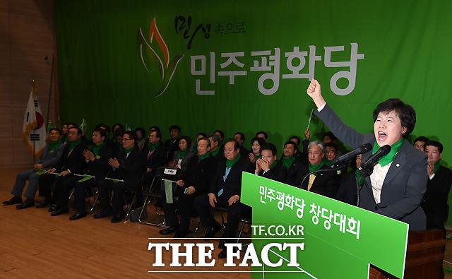 민주평화당 창당대회가 6일 오후 서울 여의도 국회 의원회관 대회의실에서 열린 가운데, 초대 당대표로 선출된 조배숙 의원이 대회사를 하고 있다. /이새롬 기자