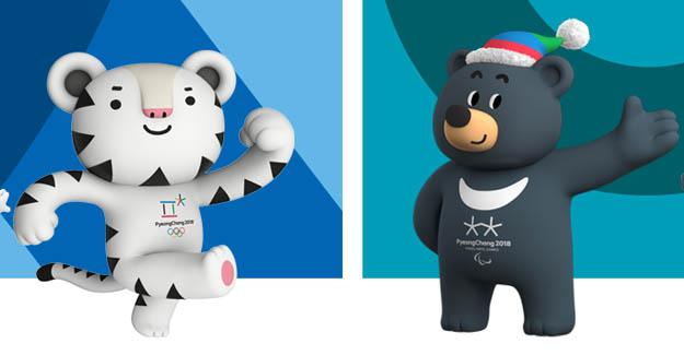 평창 동계 올림픽 마스코트 수호랑(왼쪽)과 평창 동계 패럴림픽 마스코트 반다비. 귀여운 외모로 인기를 얻고 있다. / 평창 올림픽 공식 홈페이지