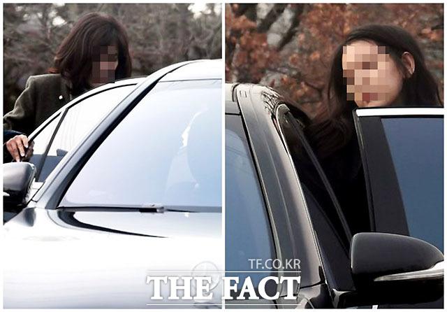 우병우 전 민정수석의 아내 이민정 씨(왼쪽)와 딸이 면회를 마친 후 차량에 오르고 있다. /임세준 기자