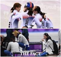 [TF사진관] 女쇼트트랙-팀추월, 상반된 팀워크 '눈길'