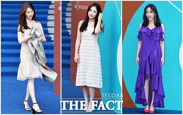 소녀시대의 서현과 아나운서 최희, 티아라의 효민(왼쪽부터)이 22일 오후 서울 중구 동대문디자인플라자에서 열린 2018 F/W 헤라서울패션위크의 다양한 쇼에 참석해 포즈를 취하고 있다. /이동률 인턴기자