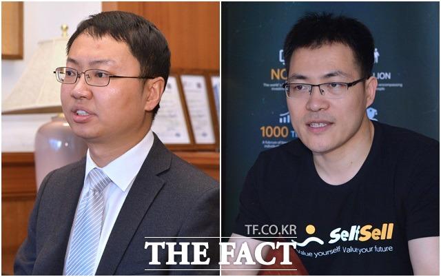 2018 토큰스카이(TOKENSKY) 블록체인 컨퍼런스가 14일 오후 서울 서대문구 그랜드힐튼호텔에서 개최된 가운데 에이체인(Achain)의 에릭 왕(Eric Wang) 최고제품책임자(왼쪽)와 셀프셀(SelfSell)의 창립자 리 유안(Li Yuan)씨가 인터뷰하고 있다. /김세정 인턴기자
