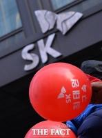 [TF포토] SK 앞에서 '빨간 풍선 든 건설노조'
