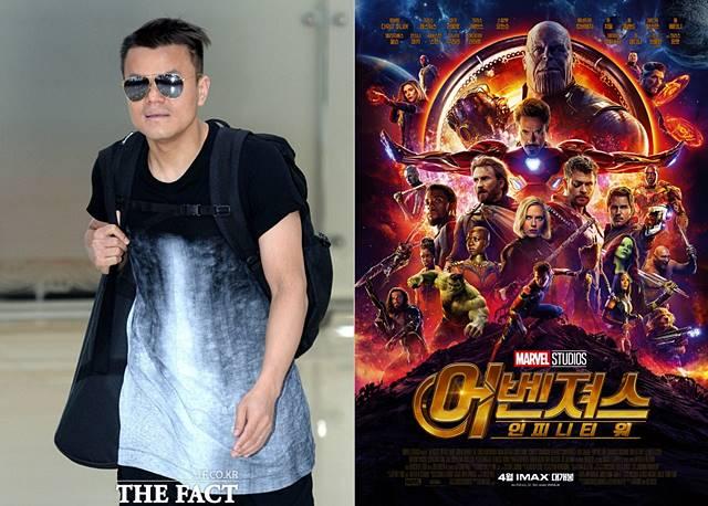 박진영(왼쪽)의 종교 논란과 영화 어벤져스:인피니티 워의 오역이 한주간 이슈로 떠올랐다./임세준 기자, 어벤져스:인피니티 워 포스터