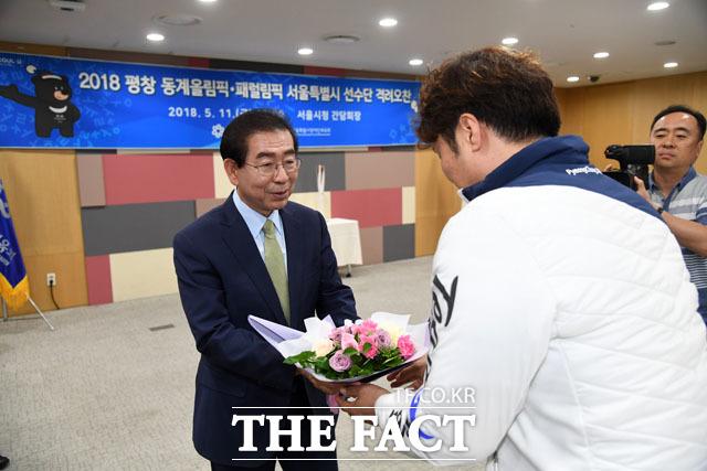 휠체어컬링 대표팀 백종철 감독과 박원순 시장