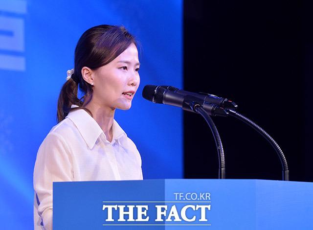 축사하는 컬링 김은정 선수