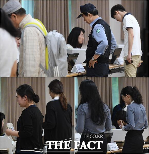 점심 시간을 이용해 투표하는 근무자들