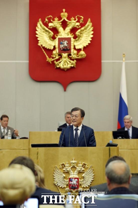 문재인 대통령은 21일 사상 첫 러시아 하원연설에서 남·북·러 3각 협력 확대 추진을 강조했다./청와대 제공