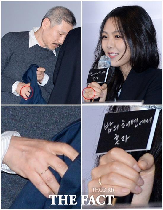 홍상수 감독과 김민희는 영화 밤의 해변에서 혼자 언론시사회에서 연인 관계를 인정했다. 당시 두 사람은 오른쪽 약지에 커플링으로 보이는 금반지를 끼고 나와 시선을 사로잡았다. /남용희 기자