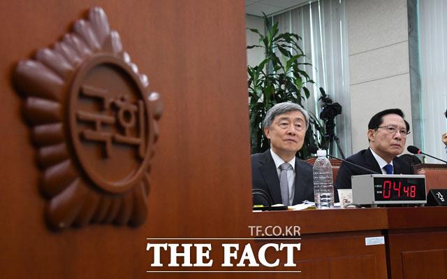 법사위원들의 질의 듣는 최재형 감사원장-송영무 국방부 장관