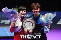 [TF포토] '남북단일팀 27년 만에 국제대회 정상!'…탁구 혼합복식 우승