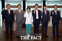 [TF포토] 바른미래당 당대표 후보 6인의 '힘찬 파이팅'