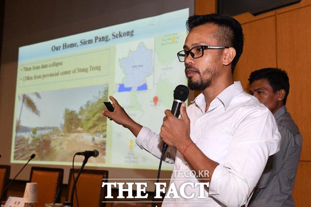포 분탄 라오스 댐 투자개발 모니터단 연구원이 캄보디아의 피해 상황을 전하고 있다