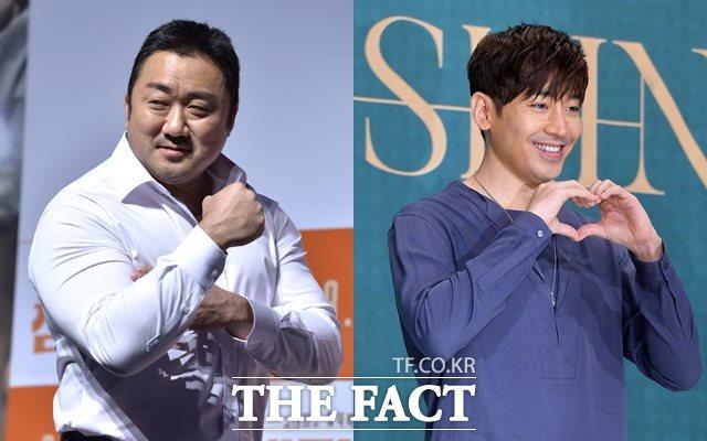 배우 마동석은 연예계에서 근육질 몸매로, 그룹 신화 멤버 겸 배우 에릭(오른쪽)은 요섹남으로 유명하다. /더팩트 DB
