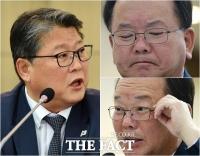 [TF포토] 조원진 의원 질의에 복잡한 표정 짓는 김부겸 장관
