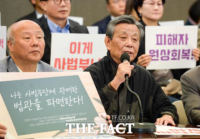 발언하는 김중배 전 MBC 사장(오른쪽)
