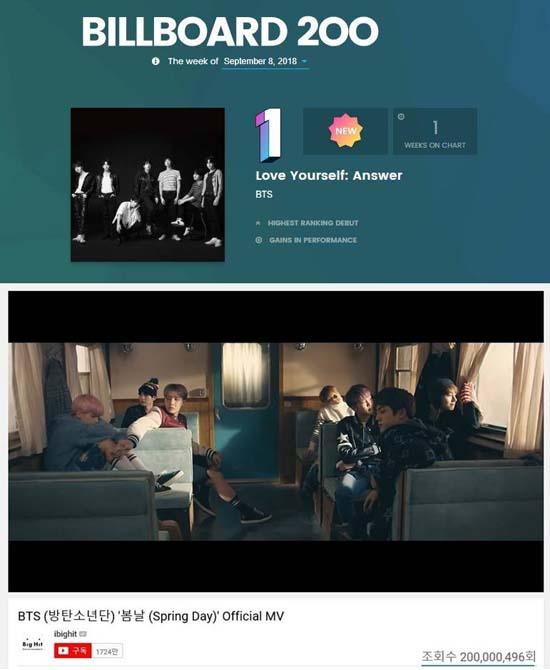방탄소년단은 빌보드 200 차트에서 두 번이나 1위를 차지했다. 한국가수 최초다. /빌보드, 유투브 캡처