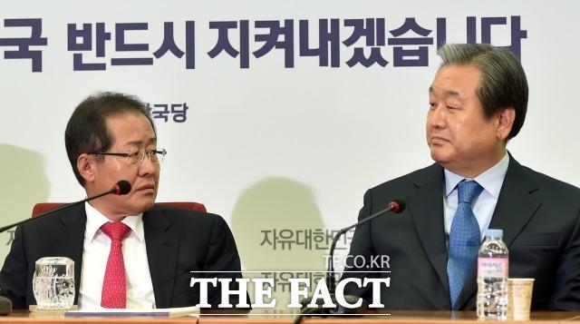 홍준표(왼쪽) 전 대표와 김무성 의원에 대한 조강특위의 결정에 관심이 주목되고 있는 상황이다. /이새롬 기자