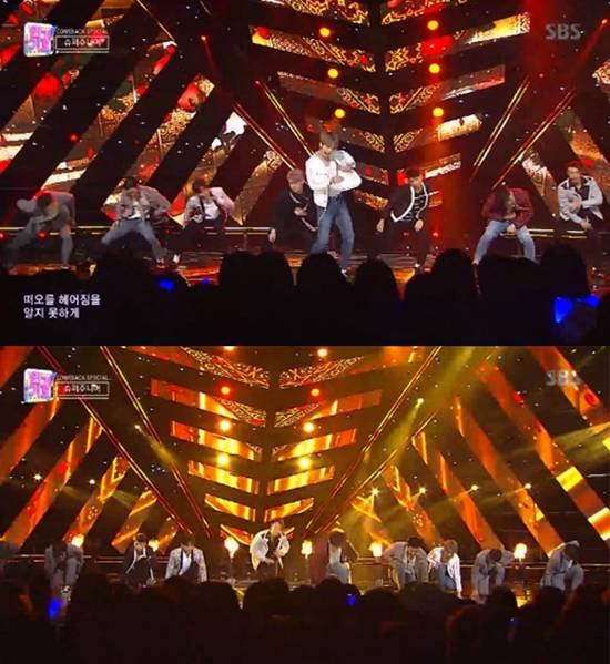 이날 슈퍼주니어는 라틴팝 신곡 원모타임 무대를 선보이며 데뷔 14년 차 아이돌의 저력을 과시했다. /SBS 인기가요 방송화면 캡처