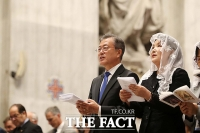 [TF포토] 한반도 평화 미사 참석한 문재인 대통령