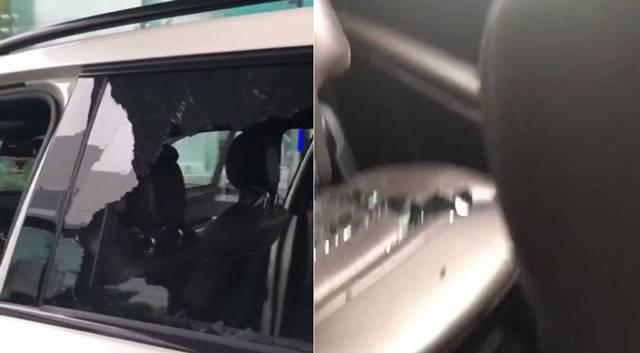 도끼가 자신의 인스타그램에 올린 차량 모습. 창문이 깨져있고, 내부에는 유리파편이 있다. /도끼 인스타그램