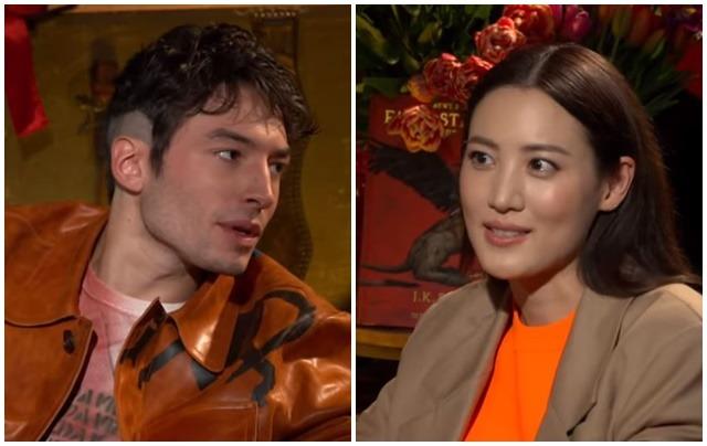 할리우드 배우 에즈라 밀러(왼쪽)와 한국 배우 수현. /유튜브 영상 캡처