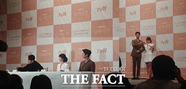 배우 박보검과 송혜교, 그리고 박신우PD가 남자친구 제작발표회에 참석했다./김희주 인턴기자