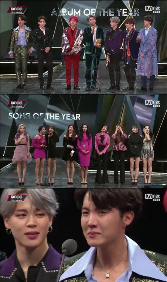 그룹 방탄소년단(맨 위)과 트와이스(위에서 두 번째)는 14일 홍콩 아시아 월드 엑스포 아레나에서 열린 2018 MAMA에서 대상을 수상했다. /Mnet 2018 MAMA 방송 캡처