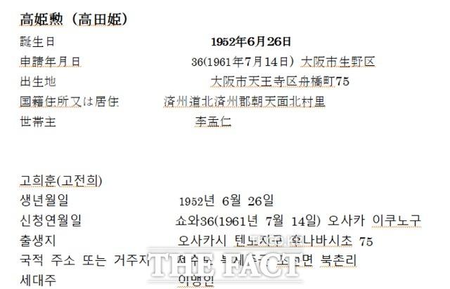 일본 데일리NK 도쿄 지국장 고영기 씨가 입수한 자료를 메모한 것에 따르면 김 위원장의 친모 고용희는 출생 후 9년 뒤인 1961년 7월 14일에야 당국에 신고됐다. /정성장 세종연구소 수석연구위원 제공