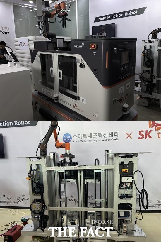 5G 다기능 협업 로봇은 제품 적재부터 자율주행 이동 등을 모두 수행한다. 로봇 외형과 내부 모습. /안산=서민지 기자