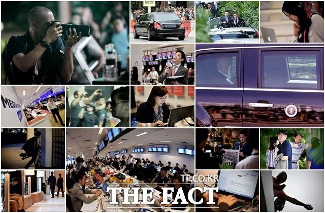 숨 가쁜 북미정상회담, 우리는 기자다 도널드 트럼프 미국 대통령과 김정은 북한 국무위원장이 6월 12일(현지시간) 싱가포르 센토사 섬에 있는 카펠라 호텔에서 세기의 만남을 가졌다. 역사적인 순간을 취재하기 위해 모인 세계 각국 취재진 바쁘게 움직이고 있다. /이덕인 기자