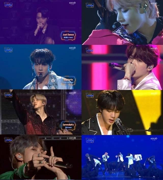 28일 KBS2 2018 가요대축제에서 방탄소년단 멤버들의 개인무대 후 Fake Love 무대가 이어졌다./KBS 방송 캡처