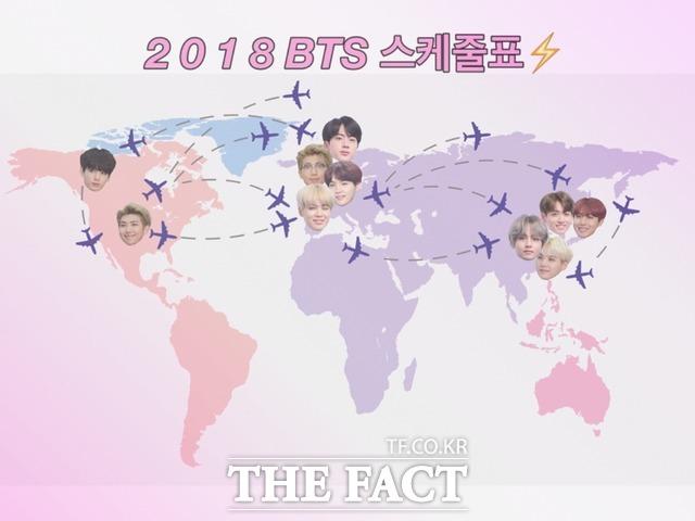 2018년, 전 세계를 BTS 열풍으로 뜨겁게 달궜던 방탄소년단의 1년 스케줄을 <더팩트>가 보기쉽게 정리했다. /성지연 기자