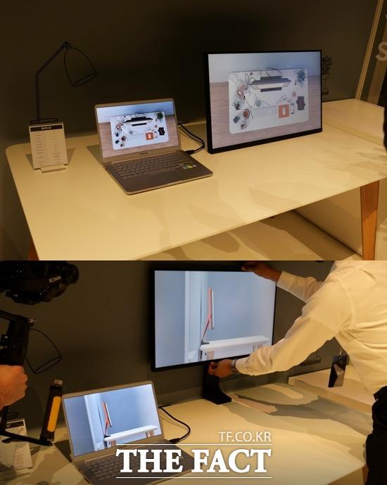 스페이스 모니터는 책상에 고정하거나 벽에 밀착하는 등 자유자재로 움직일 수 있다.