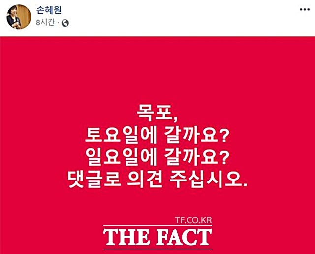 손혜원 민주당 의원이 18일 페이스북에 주말 목포행을 예고하는 글을 남겼지만 실제 목포행은 이뤄지지 않았다. /손 의원 페이스북 갈무리