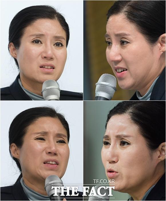 불법 안락사 논란이 제기된 동물보호단체 케어의 박소연 대표가 19일 오전 서울 서초구의 한 빌딩에서 기자회견을 열고 입장을 밝히며 눈시울을 붉히고 있다. /김세정 기자