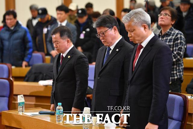 김기수 변호사, 조원진 대한애국당 대표, 성창경 KBS 공영노동조합 위원장(왼쪽부터)