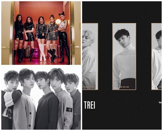 있지, TXT, 트레이는 2019년 데뷔하는 신인 그룹이다. 각각 소속사에 트와이스, 방탄소년단, EXID라는 선배 그룹을 두고 있다. /JYP, 빅히트, 바나나컬처 제공