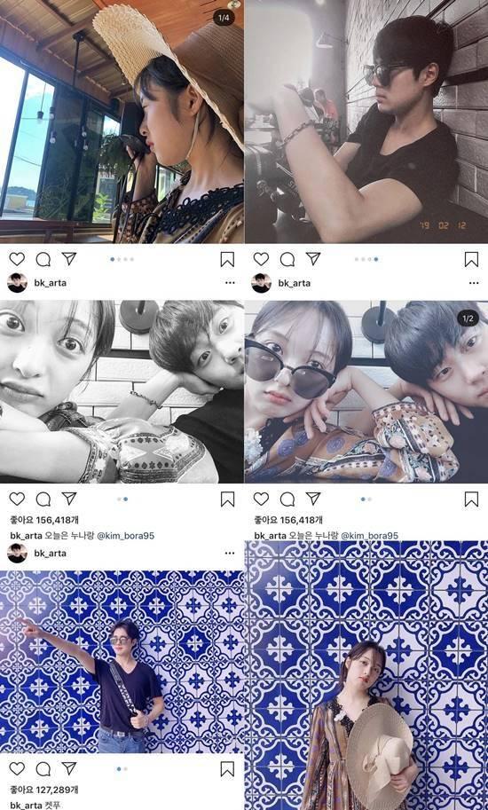 열애설을 해명한 김보라와 조병규였지만, SNS에 연인처럼 다정한 모습의 사진을 올렸다. /김보라, 조병규 인스타그램