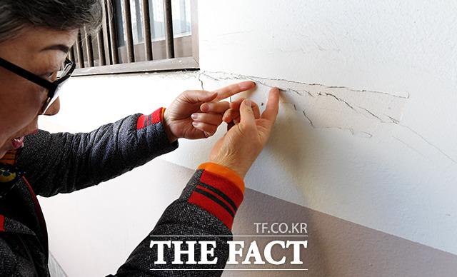 균열 때문에 드라이비트 시공(건물외벽에 단열재 등을 붙이고 그 위에 실리콘 플라스터를 마감하는 공법)으로 작업된 그물망 모양의 메쉬(균열방지용 철망)가 부서지고 있다. 아파트 주민은 발파 작업 전 시공사에서 아파트에 페인트 칠을 했다. 그때 붙인 메쉬가 균열을 보이지 않게 가리고 있다라고 주장했다.