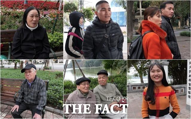 베트남 현지인들이 25일 북미정상회담 주요 장소가 밀집한 하노이 호안끼엠 호수 근처에서 <더팩트> 취재진 인터뷰에 응하고 있다. /하노이(베트남)=이원석 기자