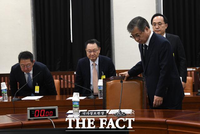 전체회의 참석하는 서훈 국정원장