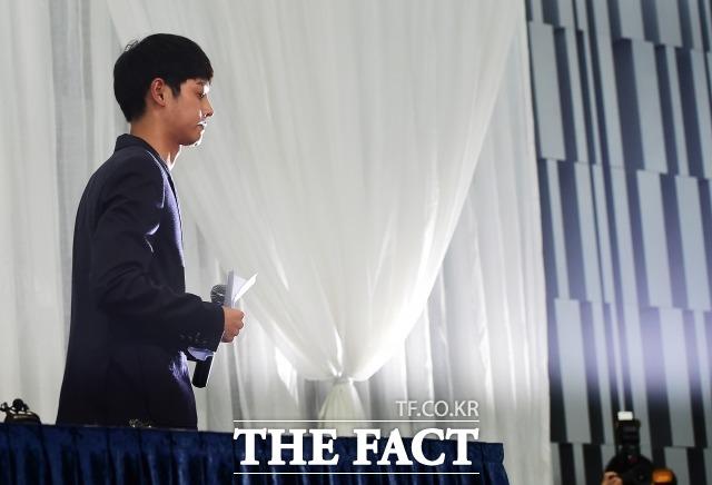 지난 2016년, 성폭행 혐의를 받았던 가수 정준영은 서울 강남구 노보텔앰배서더에서 기자회견을 열고 입장을 밝히며 정중하게 사과한 바 있다. /더팩트DB