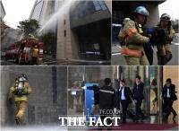 [TF포토] '훈련도 실전처럼!'…고층건축물 재난대비훈련