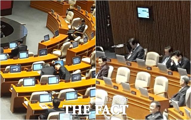 국회 대정부질문 중 국회의원들이 딴 짓을 하거나 졸고 있다. /이철영 기자