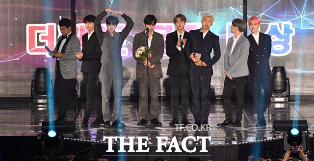 방탄소년단이 TMA에서 받은 상들의 영광을 팬들에게 돌리며 초심을 증명했다. /인천 남동체육관=남윤호 기자
