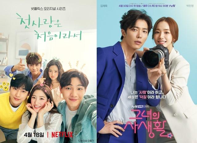 드라마 첫사랑은 처음이라서와 그녀의 사생활은 두 남자 사이에서 펼쳐지는 여자의 로맨스 이야기를 담았다. /넷플릭스, tvN 제공