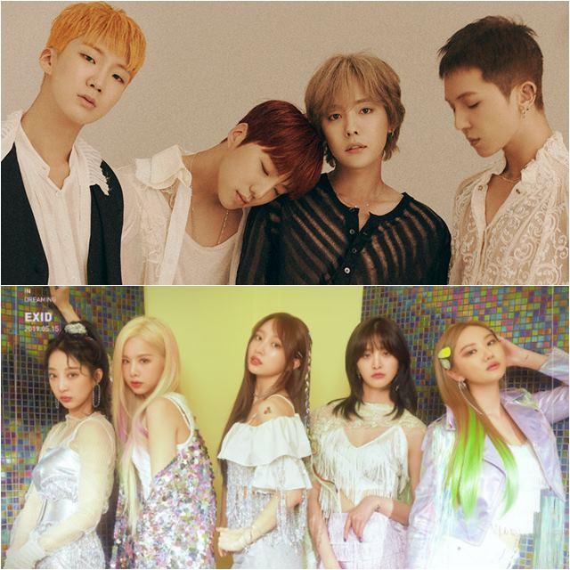 그룹 위너(위)와 EXID가 새 앨범 WE를 들고 가요계에 복귀한다. /YG 엔터테인먼트, 바나나컬처 엔터테인먼트