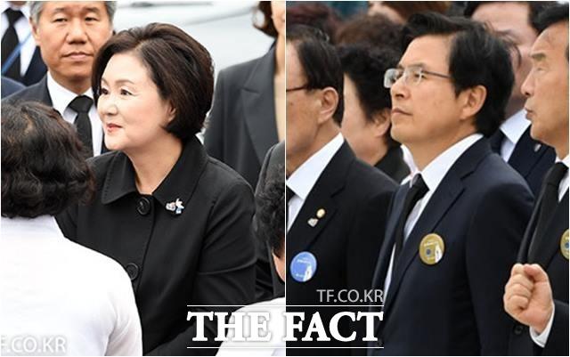 영부인 김정숙 여사가 지난 18일 39주년 5·18 민주화 운동 기념식에서 황교안 자유한국당 대표와 일부러 악수하지 않았다는 주장이 한국당에서 나왔다.  /남윤호 기자
