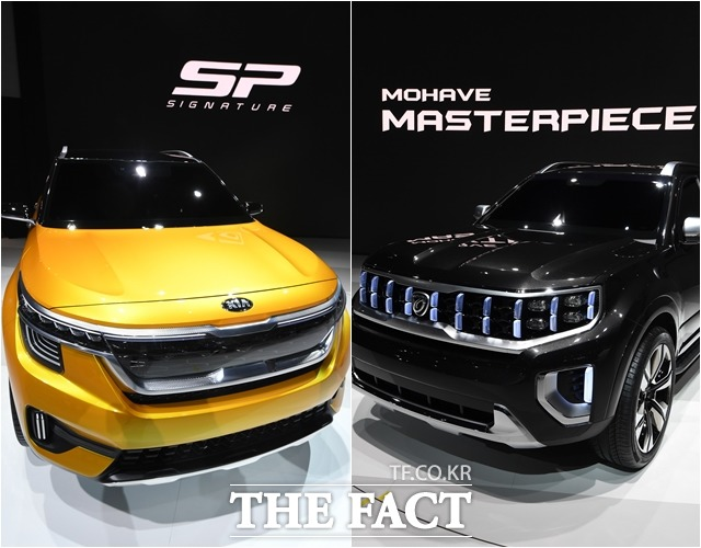 기아자동차가 올해 하반기 하이클래스 소형 SUV와 신형 모하비를 출시, RV 라인업을 보강해 내수 시장에서 반등을 노린다. 서울모터쇼에 기아차가 출품한 SP 시그니처(왼쪽)와 모하비 마스터피스 /더팩트 DB